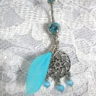 STAR NATIVE DREAMCATCHER w BLUE CATS EYE BEADS REAL FEATHER CZ BELLY BUTTON RING