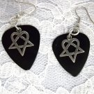 VILLE VALO HIM / HER BLACK GUITAR PICK w METAL HEARTAGRAM PEWTER CHARMS EARRINGS