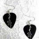 REAL BLACK GUITAR PICK w METAL SNAKE SERPENT PEWTER CHARM EARRINGS