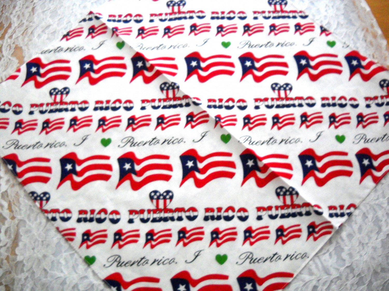 NEW I LOVE PUERTO RICO BANDANA HEAD WRAP SCARF FLAG HEARTS WHITE RED BLUE GREEN HERITAGE