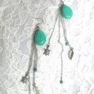 CLEARANCE SALE LONG TURQUOISE BLUE HOWLITE DROP w 4 CHAINS BEADS CHARMS DANGLING EARRINGS