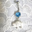 HAND PAINTED 3D WHITE TATANKA SPIRIT BUFFALO 14g BABY BLUE CZ BELLY RING BARBELL
