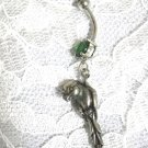 NEW 3D BIRD / PARROT SOLID PEWTER CHARM 14g EMERALD GREEN CZ STAINLESS BELLY RING BARBELL
