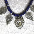 WOLF HEAD PEWTER PENDANT & 4 CELTIC KNOT WOLVES / CHARMS BLUE BEAD ADJ NECKLACE
