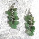 GREEN AVENTURINE REAL GEMSTONE MULTIPLE CLUSTER DANGLING STONE EARRINGS