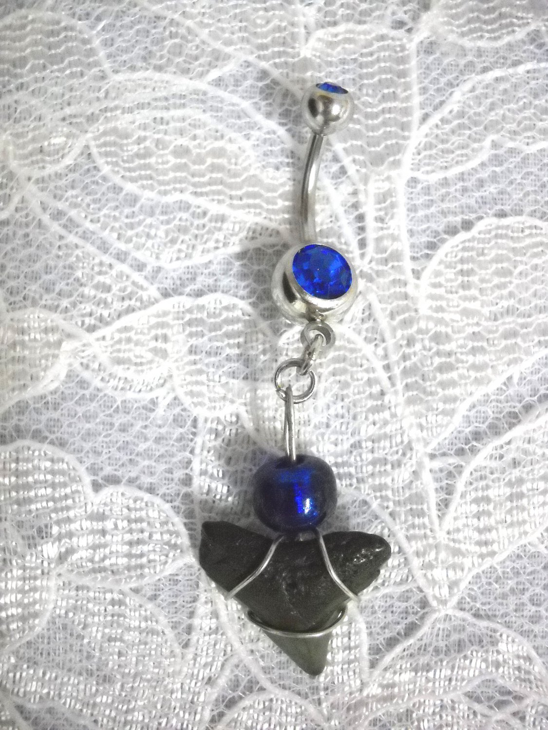 REAL FOSSIL SHARK TOOTH DANGLING CHARM & COBALT BLUE BEAD & CZ GEM 14g BELLY NAVEL RING