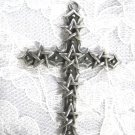 WICCAN 6 PENTACLE STAR CROSS CAST PEWTER PENDANT ADJ NECKLACE
