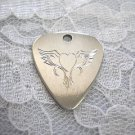 ENGRAVED TRIBAL TATTOO LINES HEART w WINGS PEWTER GUITAR PICK PENDANT NECKLACE