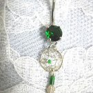 STERLING SILVER & MALACHITE WEB DREAMCATCHER w FEATHER ON EMERALD GREEN CZ BELLY RING
