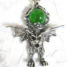 NEW WILD XL PEWTER GARGOYLE w GREEN ENCRUSTED ORB GLASS BALL PENDANT NECKLACE