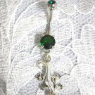 STERLING SILVER DETAILED GECKO CHARM 14g EMERALD GREEN CZ BELLY BAR NAVEL RING