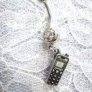 NEW USA PEWTER CELL PHONE DANGLING CHARM ON DBL CLEAR CZ BELLY BUTTON RING