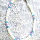 ROUND PUKA SHELL WHITE & PURPLE w BABY BLUE GLASS ACCENT BEADS ANKLE BRACELET