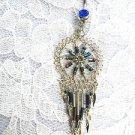 BLUE RAINBOW SPIRAL DREAMCATCHER BEADED TASSLES COBALT BLUE CZ BELLY BUTTON RING