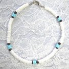 ROUNDED PUKA SHELL WHITE & BABY BLUE w BLACK GLASS ACCENT BEADS ANKLE BRACELET