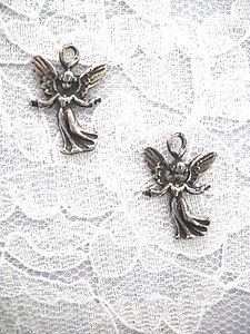 PAIR OF ANGELS PEWTER GUARDIAN ANGEL CHARM EARRINGS DANGLING JEWELRY