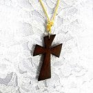 NEW LARGE BROWN WOODEN SLANT CUT CROSS PENDANT  ON ADJUSTABLE CORD NECKLACE