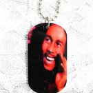 "NEW SMILING BOB MARLEY REAL COLOR PHOTO DOG TAG SHAPED PENDANT 25"" BALL CHAIN NECKLACE"