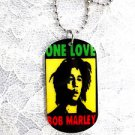 "NEW YOUNGER BOB MARLEY ONE LOVE RASTA COLOR DOG TAG SHAPE PENDANT 25"" BALL CHAIN NECKLACE"
