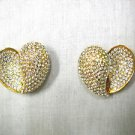 VINTAGE JARIN / MADE IN USA DAZZLING AUSTRIAN PAVE CRYSTAL PAISLEY SHAPE CLIP ON EARRINGS
