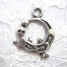 UNIQUE TRIBAL ROUND SHAPED GECKO LIZARD PEWTER PENDANT ADJ STRING NECKLACE