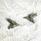 NEW DETAILED 3D HUMMINGBIRDS PEWTER CHARMS DANGLING HUMMINGBIRD CHARM EARRINGS