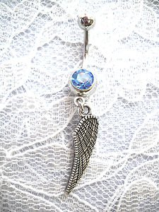 DANGLING DOUBLE SIDED TERCEL ANGEL WING CHARM ON 14G BABY BLUE CZ BELLY BUTTON RING