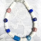 SALE ROUNDED REAL WHITE PUKA SHELL & MULTI COLOR GLASS DECO SPACER BEADED BRACELET