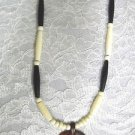 EXOTIC CARVED ROSE WOOD WHALE TAIL PENDANT w BLACK & WHITE BONE BEADS NECKLACE