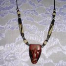 EXOTIC CARVED ROSE WOOD TIKI MASK PENDANT ON RAZOR CUT BONE BEAD ACCENTS NECKLACE