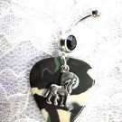 WILD CAMO COLORS GUITAR PICK & HOWLING WOLF w MOON CHARM BLACK CZ 14g BELLY BAR RING