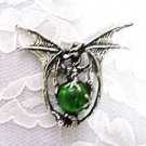 DRAGON w MED GREEN GLASS BALL PEWTER PENDANT NECKLACE