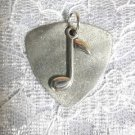 PEWTER SILVER GLITTER BASS GUITAR PICK & SINGLE MUSIC NOTE CHARM PENDANT NECKLACE