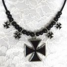 NEW PEWTER IRON CROSS PENDANT & 4 MALTESE CROSS CHARMS BLACK BEAD ADJ NECKLACE
