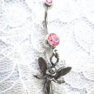 MY LITTLE GUARDIAN ANGEL USA PEWTER CHARM ON PASTEL PINK CZ BELLY BUTTON RING
