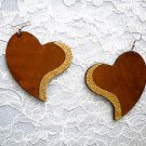 XL MEDIUM BROWN SHAPED HEART w GOLD GLITTER ACCENT REAL WOODEN DANGLING EARRINGS