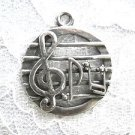 MUSICIAN WRITER SHEET MUSIC G CLEF MUSIC NOTE BARS USA PEWTER PENDANT ADJ NECKLACE