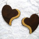 NEW XL DARK BROWN SHAPED HEART w GOLD GLITTER ACCENT REAL WOOD DANGLING EARRINGS