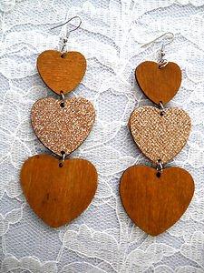 NEW LONG MED BROWN & GLITTERY 3 TIER HEART / HEARTS REAL WOOD DANGLING EARRINGS