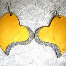 NEW BOLD NATURAL BLONDE WOOD SHAPED HEART w SILVER GLITTER DANGLING EARRINGS