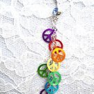 NEW 8 RAINBOW COLORS PEACE SIGN CHARMS ON CHAIN 14g BABY BLUE CZ BELLY RING BARBELL
