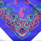 BRIGHT PAISLEY ON RICH PURPLE COLOR BANDANA w TURQUOISE PINK OLIVE GREEN WHITE SCARF HANKERCHIEF