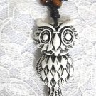 NEW WHITE WITH BROWN RESIN HOOT OWL BIRD PENDANT ADJ STRING CORD NECKLACE