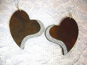 NEW XL BROWN SHAPED HEART w SILVER GLITTER ACCENT REAL WOOD DANGLING EARRINGS