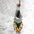 NEW RASTA BEADED DANGLING TASSEL & ONYX DROPLET ON 14g DBL RED CZ BELLY BUTTON RING