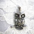 NEW HOOT OWL ON BRANCH USA CAST PEWTER PENDANT ON ADJUSTABLE CORD NECKLACE