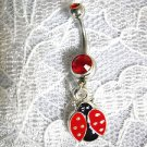 NATURE GIRL CUTE RED & BLACK LADY BUG / LADYBUG CHARM ON DBL RED CZ BELLY BUTTON RING