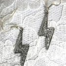 PEWTER LIGHTNING BOLT / LIGHTNING BOLTS  SILVER GLITTERY INLAY DANGLING EARRINGS