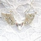 NEW FLYING WINGED HEART w/ CRYSTALS - DAZZLING ANGEL WINGS PENDANT NECKLACE