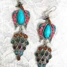 NEW SILVERTONE PEACOCK w TURQUOISE BLUE PINK RED GREEN YELLOW CRYSTALS EARRINGS